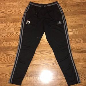 adidas athletic/ running/ soccer track pants black